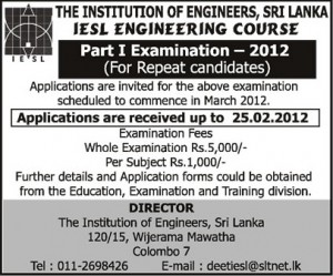 IESL Engineering Course Part 1 Examination – 2012