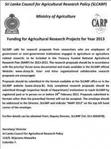 Scholarships for Agricultural Research Project for Year of 2013 by Srilanka Council for Agricultural Research Policy (SLARP)