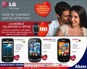Special Discounts on LG Mobiles and FREE Collector Edition Wristwatch for this Valentine's Day - Abans