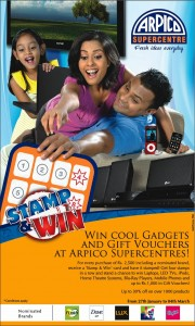 Stamp & Win Gadgets and Gift Vouchers @Arpico Supercenter from 27th January to 4th March 2012