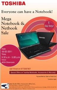 TOSHIBA laptops One day Special Promotion in srilanka