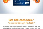 Pay your bills with VISA Online and Get 10% Cash Back