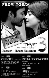 3 (THREE) Screening in Srilanka from 30th March 2012 (Today)
