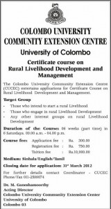 Certificate course on rural livelihood Development and Management by University of Colombo