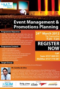 Event Management & Promotions Planning Programme on 24th March 2012