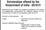 Government of India Postgraduate Scholarships for 2012/2013