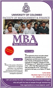 Master of Business Administration (MBA) 2012 – University of Colombo