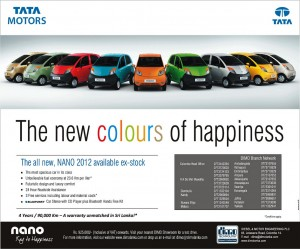 TATA Nano 2012 Key to Happiness introduce TATA Nano in 9 Difference Colours