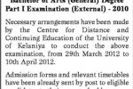 University of Kelaniya External Degree Examinations 2010 – 2012