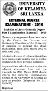 University of Kelaniya External Degree Examinations 2010 – 2012