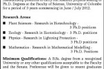 12 Ph.D Research Assistantship Positions for3 Years by University of Colombo