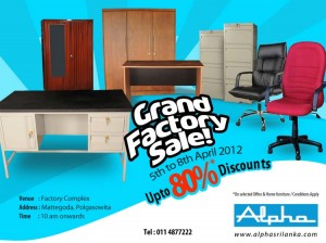 Alpha Grand Factory Sale Up To 80% Discounts from 5th April to 8th April 2012