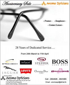 Anoma Opticians 28th years Anniversary sale from 24th March 2012 to 11th April 2012