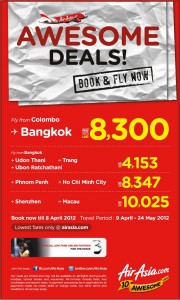 Awesome Deals By Air Asia –Book Now till 8th April 2012