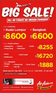 BIG SALE of Air Asia for the travel period of 1st October 2012 to 31st January 2013