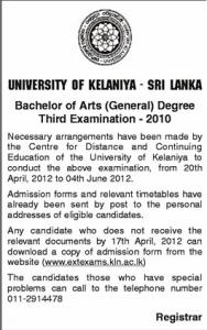 Bachelor of Arts (General) Degree 3rd Examination 2012 - University of Kelaniya, Srilanka