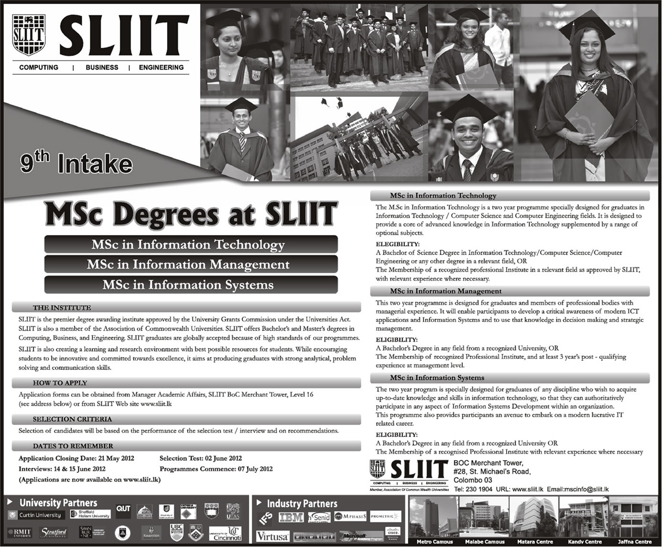 M.Sc Degrees at SLIIT, Srilanka