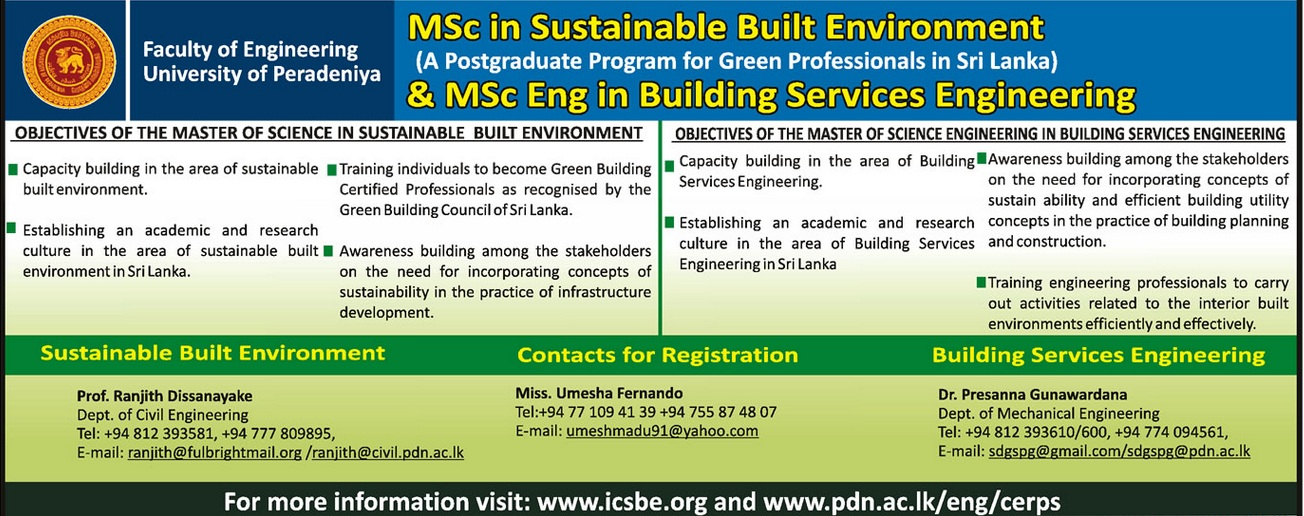 M Sc In Sustainable Built Environment And M Sc Eng In Building Services Engineering University