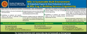 M.Sc in Sustainable Built Environment and M.Sc Eng in Building Services Engineering – University of Peradeniya