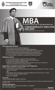 MBA – Open University of Srilanka in collaboration with The Commonwealth of Learning