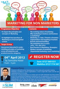 Marketing for Non-Marketers by Prasanna Perera on 4th April 2012