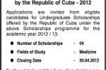 Medicine Scholarships for Srilanka – CUBA Academic Year of 2012/2013