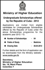 Medicine Scholarships for Srilanka – CUBA Academic Year of 20122013