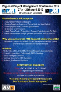 Regional Project Management Conference 2012 – 27th to 29th April 2012 @ Cinnamon Lakeside