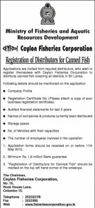 Registration of Distributor for Canned Fish – Ceylon Fisheries Corporation
