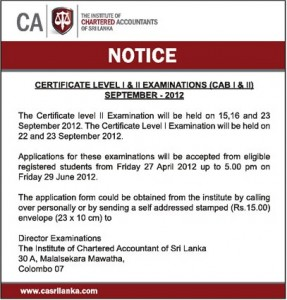 The Institute of Chartered Accountants of Srilanka – Certificate Level I & II Examination September 2012