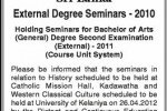 University of Kelaniya External Degree Seminar 2010 Postponed to11th June 2012