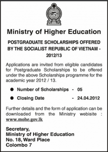 Vietnam Postgraduate Scholarships for Academic Year of 20122013