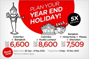 Air Asia Special Fare for Yearend Holiday 2012 (From 4th September to 15th November 2012)