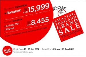 Air Asia Offer for Colombo – Bangkok in June 2012