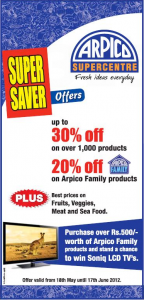 Arpico Super Centre – Supper Saver Offers 18th May to 17th June 2012