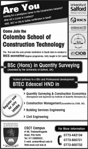 B.Sc (Hons) in Quantity surveying Degree programmes in Srilanka – Colombo School of Construction Technology