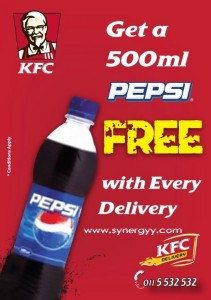 Get your FREE 500 Ml Pepsi with KFC Home Delivery 2nd June to 8th June 2012.