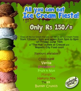 Ice Cream Fiesta – Eat Unlimited Ice Cream Just for Rs. 150.00 on 15th June 2012