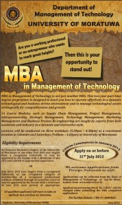 MBA in Management of Technology - 2013 by University of Moratuwa