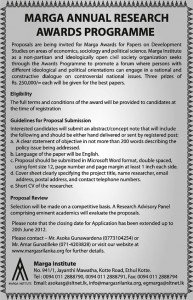 Marga Annual Research Award Programme 2012