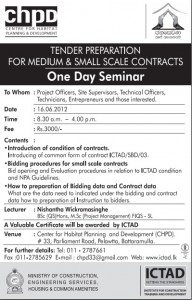 Tender Preparation for Medium & Small Scale Contracts – One day Seminar by CHPD