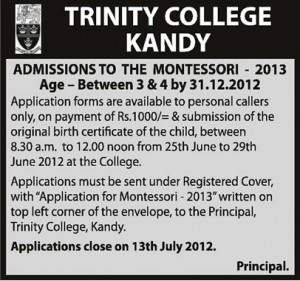 Trinity College Kandy Admission calls to the Montessori 2013