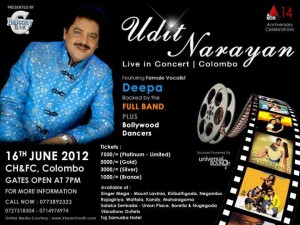 Udit Narayan Live in Concert in Colombo – 16th June 2012