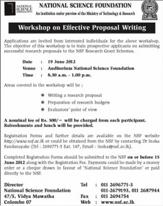 Workshop on Effective Proposal writing for Rs. 500.00