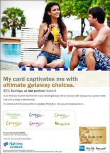 30% Discounts on Hotels for American Express Credit Card in Srilanka Till 31st August 2012