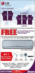 Abans Buy one ~ Own one FREE offer for LG AC