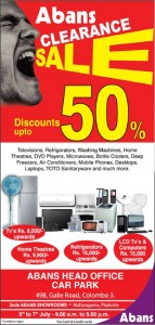 Abans Clearance Sales – Discounts Up to 50% ~ 5th to 7th July 2012