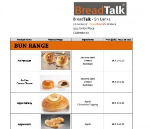 Bread Talk Srilanka Menu and Price List