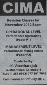 CIMA Performance Classes by Mr.Varatharajah