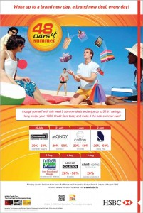 Discounts up to 50% for HSBC Credit Cards from 30th July to 5th August 2012